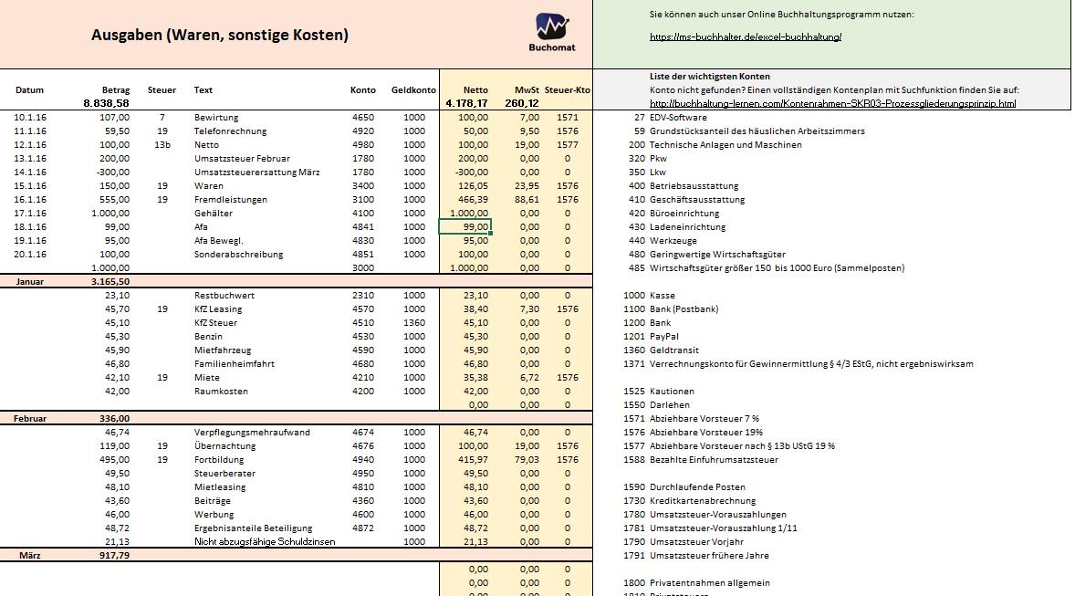 Kostenlose Excel-Vorlage für Ihre Buchhaltung und EÜR